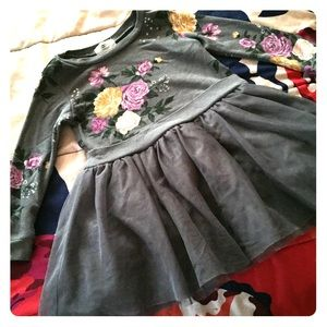 Other - Gray Floral Dress w/ TuTu